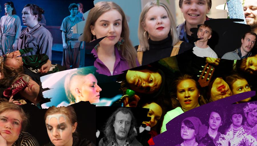 Kuvakollaasissa on teatterimme jäseniä kaudelta 2018-2019.