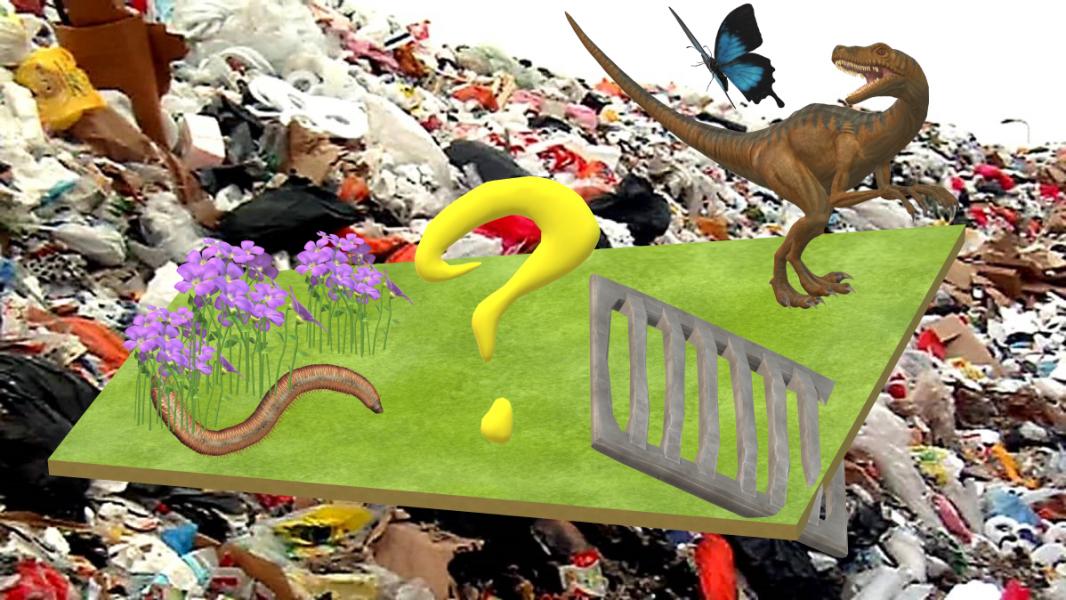 kuva kaatopaiasta. keskellä suuri kysymysmerkki.